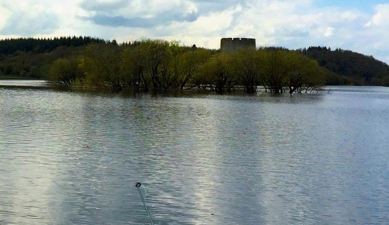 Photographie de la tour de guet au milieu du lac (Environs de Cavan, Irlande)